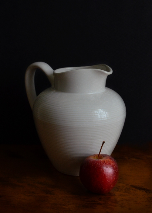 White Pitcher Red Apple